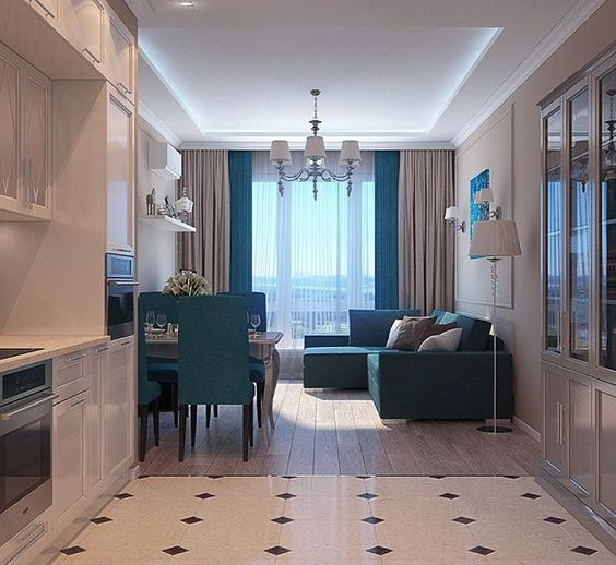 дизайн кухни гостиной, покрытия и мебель фото 17