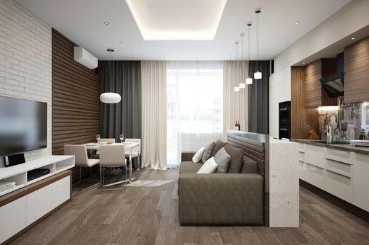дизайн кухни гостиной, покрытия и мебель фото 16