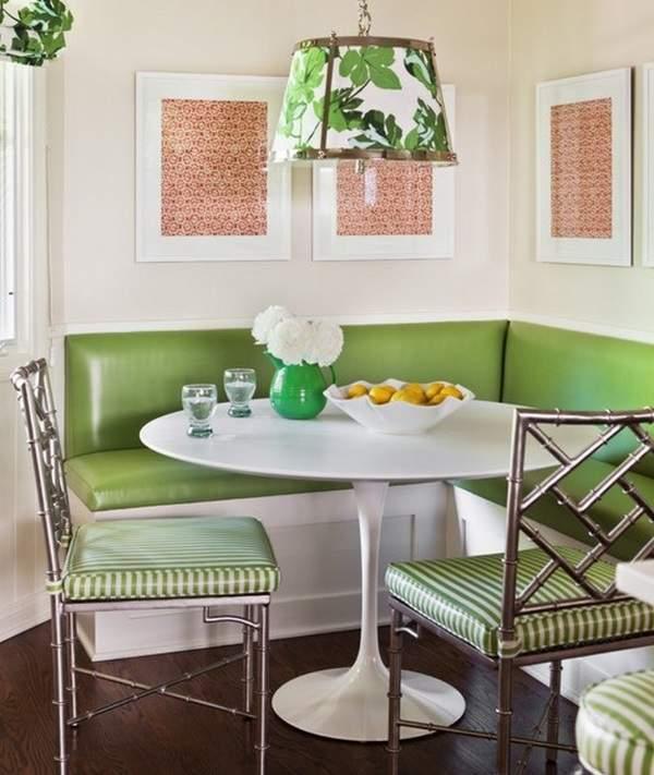 маленький зеленый угловой диван на кухню