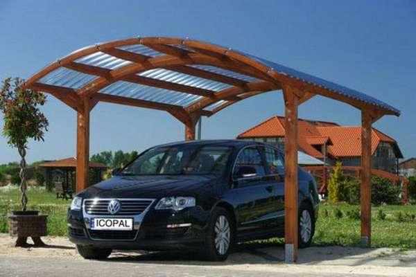 Навесы для автомобилей из поликарбоната с деревянным каркасом, фото 3