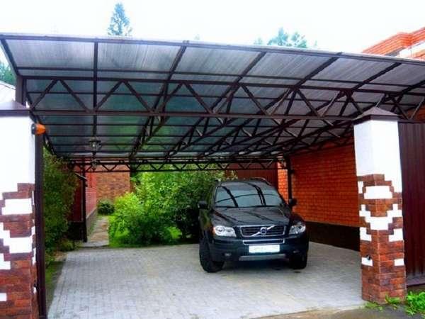 Прямые навесы для автомобилей из поликарбоната, фото 1