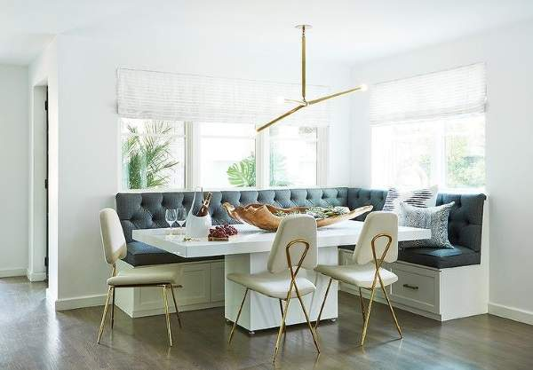 удобный угловой диван на кухню с отсеками