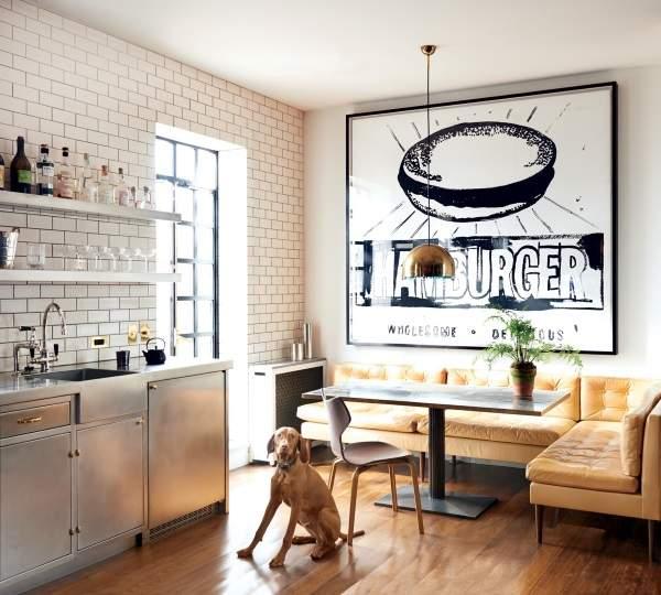 желтый угловой раскладной диван на кухню