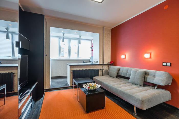 интерьер однокомнатной квартиры в современном стиле, фото 11