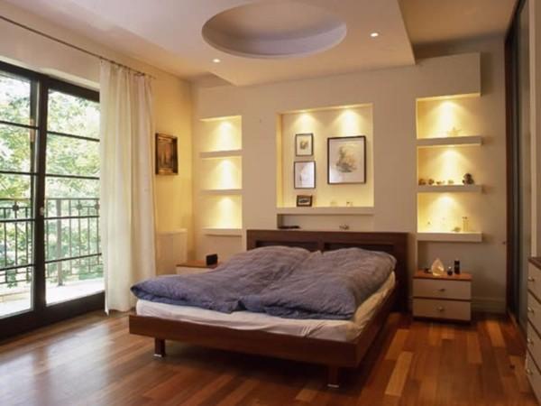 потолки из гипсокартона в спальне, фото 35
