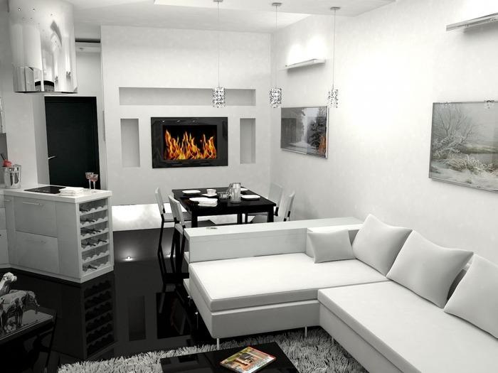 интерьер современной однокомнатной квартиры фото, фото 3