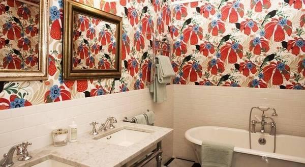 Отделка ванной обоями, фото 33