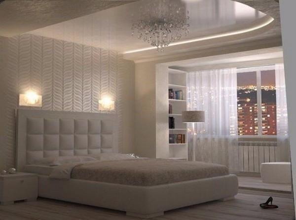 двухуровневый потолок в спальне, фото 9