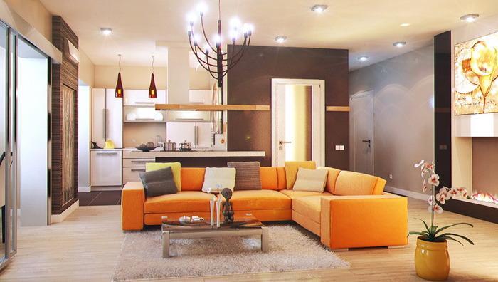 интерьер однокомнатной квартиры в современном стиле, фото 9