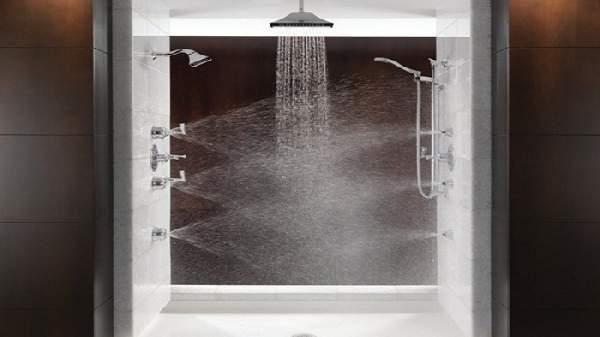душевая система с тропическим душем и смесителем