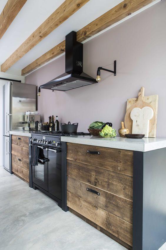Кухня из дерева в современном стиле фото
