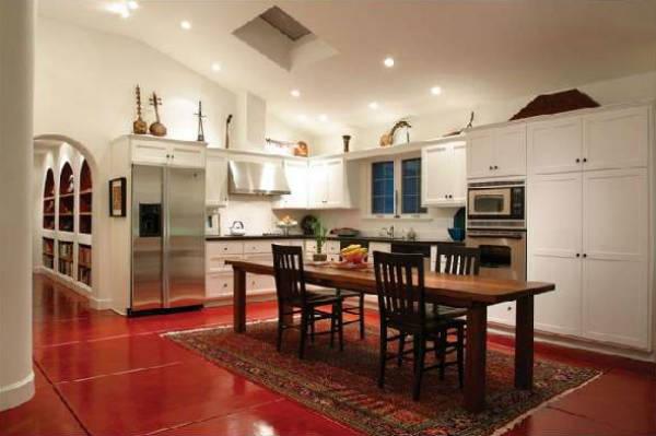 плитка на пол для белой кухни