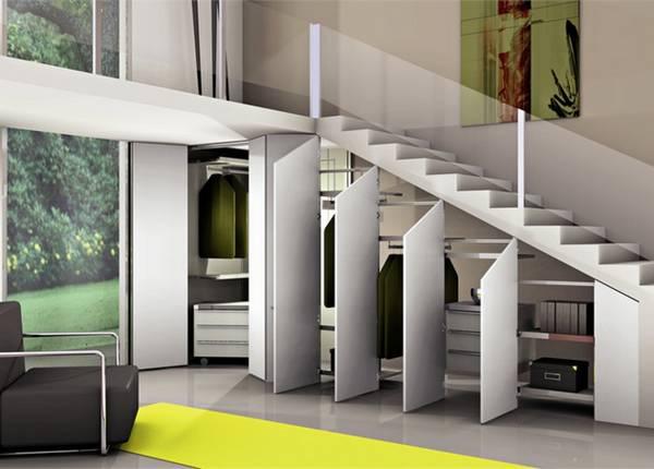 дизайн шкафа под лестницей, фото 7