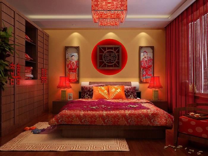 дизайн спальни в красных тонах фото, фото 2