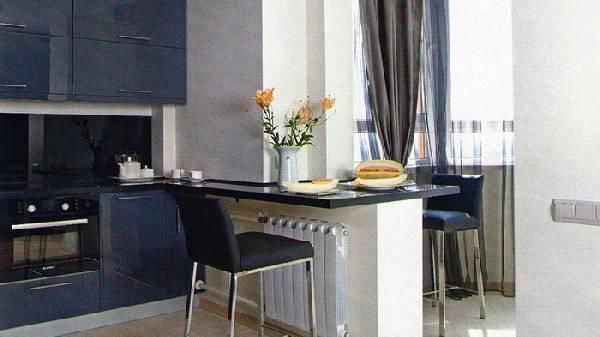 дизайн кухни совмещенной с балконом, фото 8