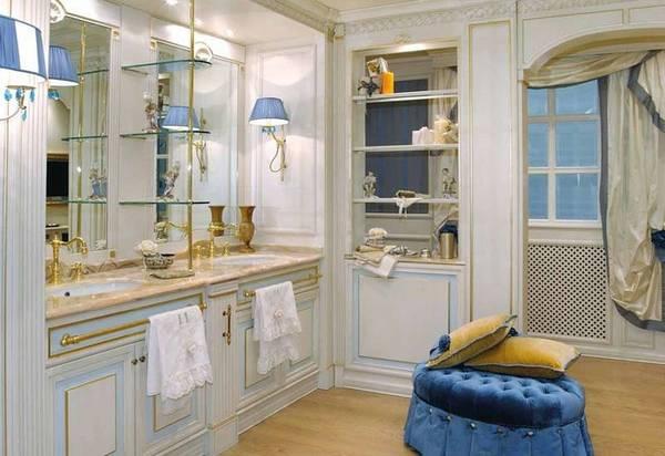 интерьер ванной комнаты в классическом стиле, фото 11