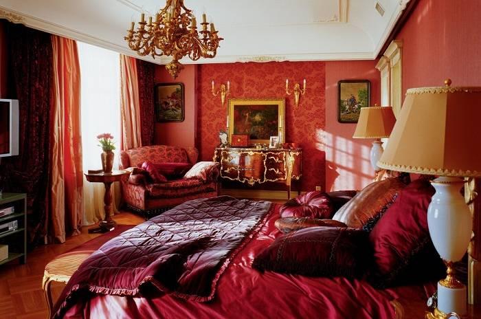 красная спальня дизайн фото, фото 4
