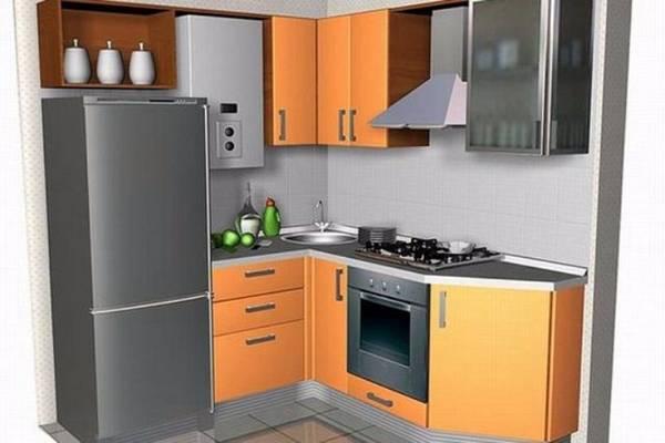 дизайн маленькой кухни с газовой колонкой, фото 40