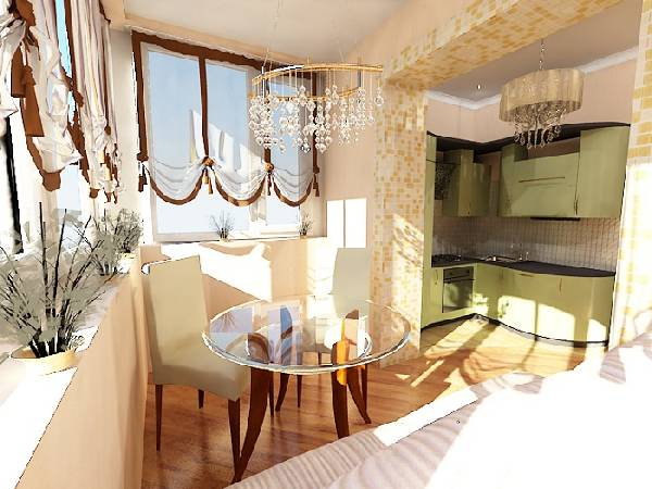 как соединить балкон с кухней, фото 10