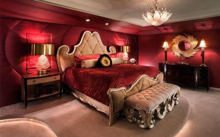 дизайн красной спальни, фото 23