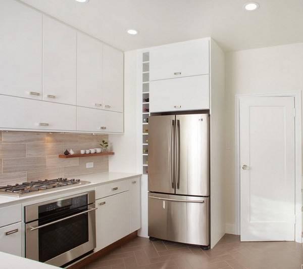 дизайн маленькой кухни с холодильником, фото 33