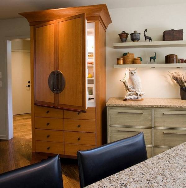 дизайн маленькой кухни с холодильником, фото 37