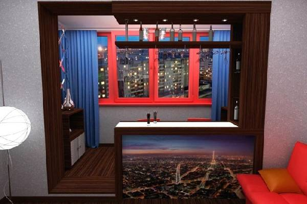 кухня соединенная с балконом, фото 12
