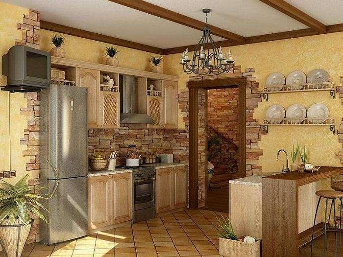 отделка стен декоративным камнем на кухне, фото 9