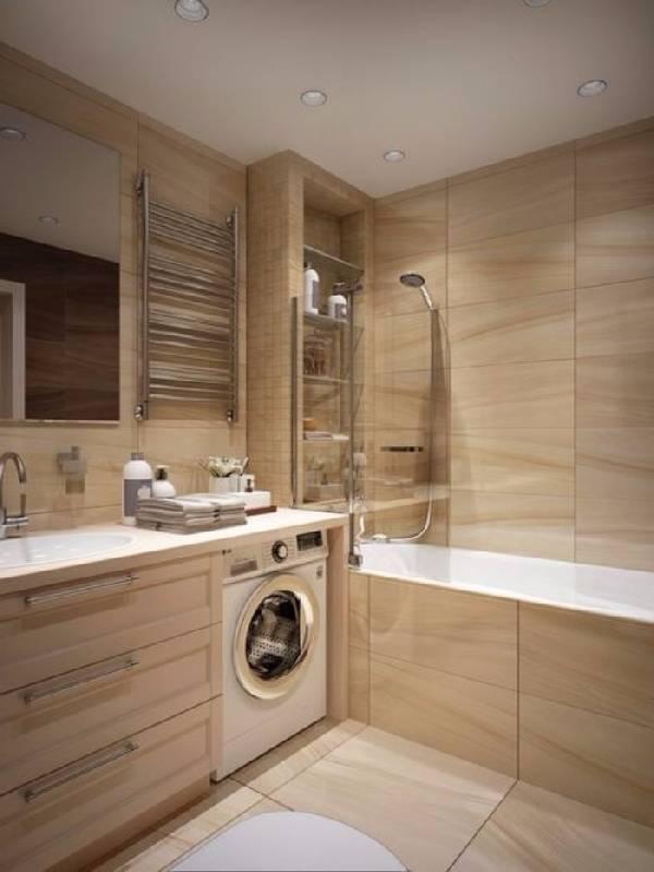 дизайн ванной комнаты с туалетом и стиральной машиной, фото 17