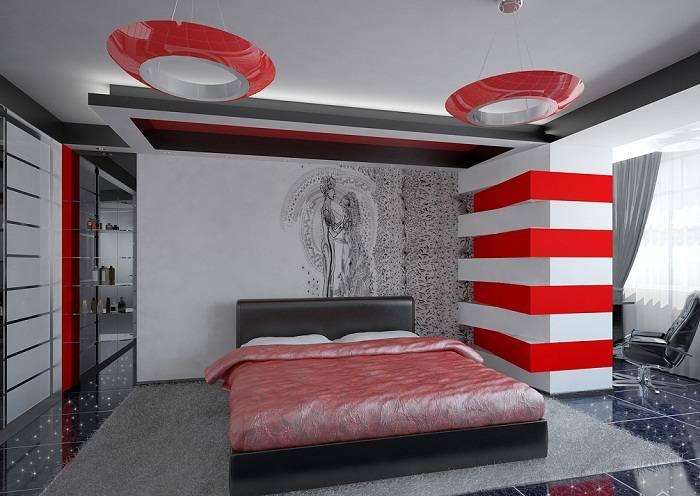 дизайн красной спальни, фото 7