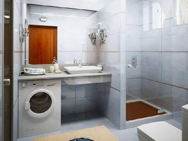 дизайн узкой ванной комнаты совмещенной с туалетом, фото 18