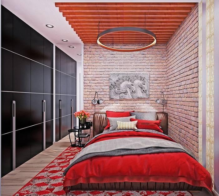 дизайн красной спальни, фото 8