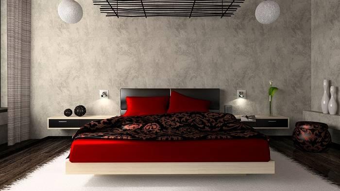 дизайн красной спальни, фото 10