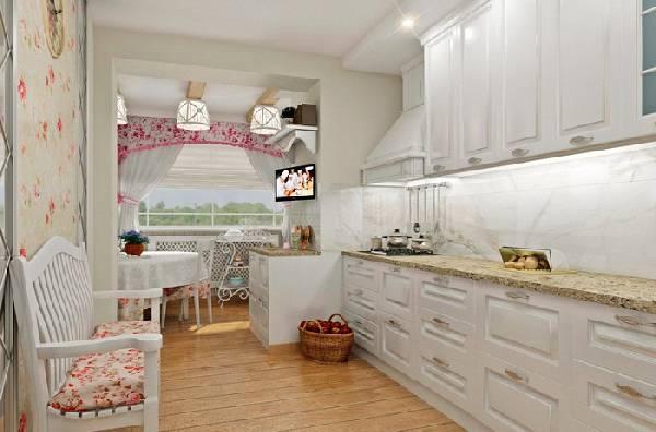 кухня совмещенная с балконом, фото 29