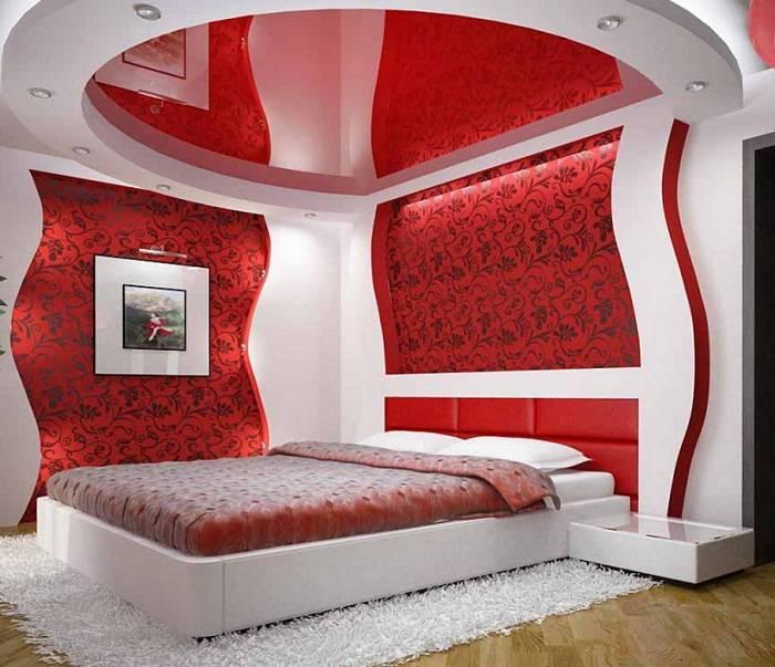 красно белая спальня дизайн, фото 14