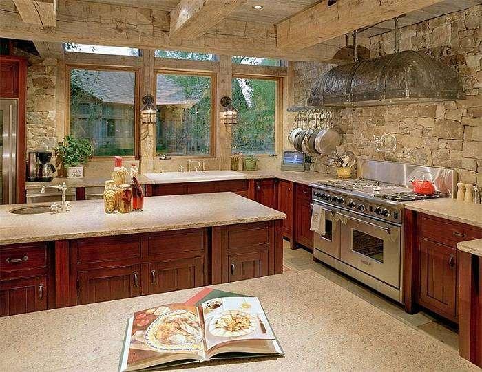 отделка стен на кухне камнем фото, фото 10