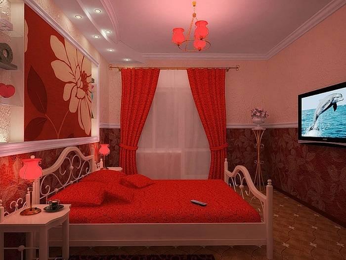 красно белая спальня дизайн, фото 15