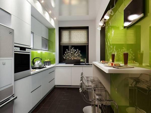 Интерьер узкой кухни 10 кв.м фото