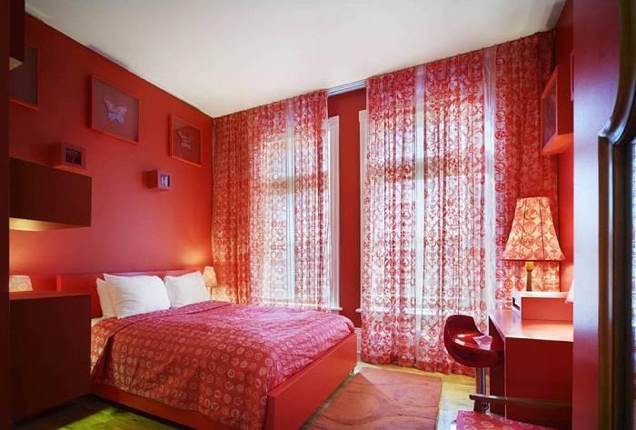 красно белая спальня дизайн фото, фото 16