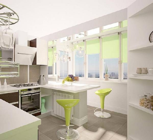 дизайн кухни с балконом 9 кв.м., фото 6