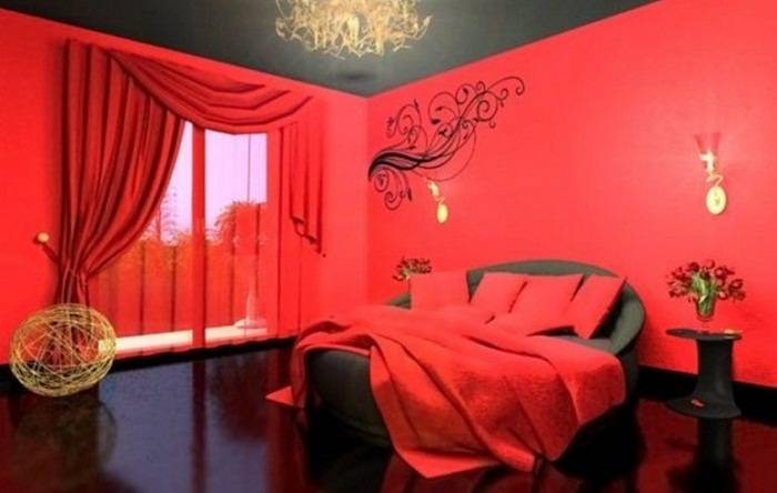 дизайн черно красной спальни, фото 19