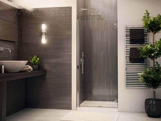 Стеклянные двери в душ раздвижные в эко стиле