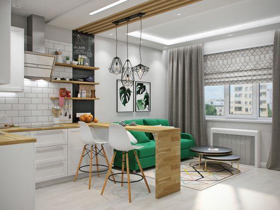 Объединение балкона с кухней в серых тонах