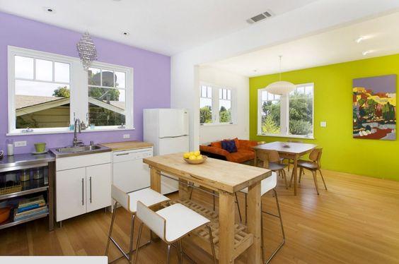 отделка стен на кухне в разных цветах, фото 30