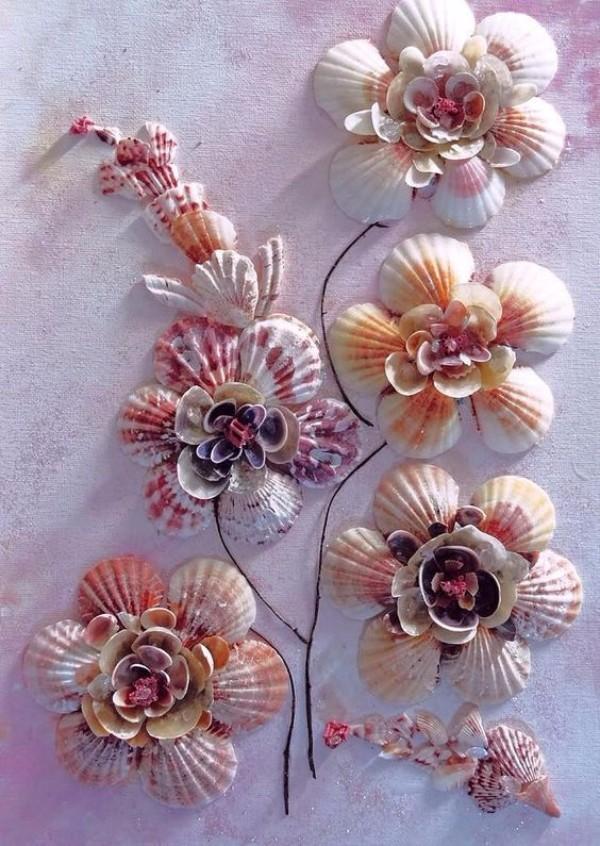 Как сделать цветок из ракушек своими руками 58
