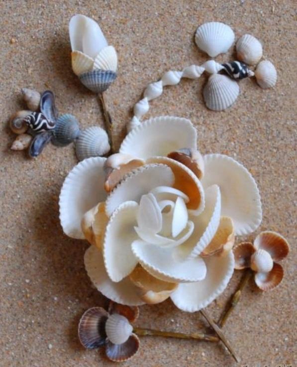 Цветы из ракушек своими руками пошагово 45