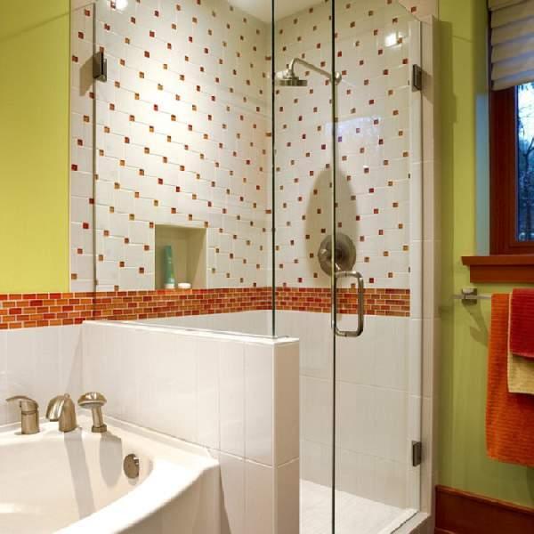 раскладка плитки в ванной сочетание, фото 22
