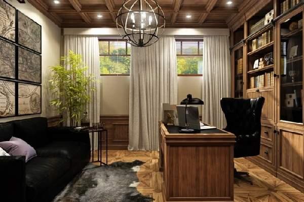 интерьер кабинета в доме, фото 24