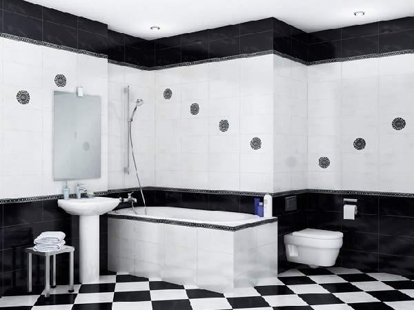 горизонтальная раскладка плитки в ванной, фото 10