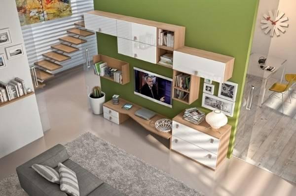 навесные шкафы в гостиную современные, фото 40
